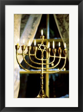 Framed Close-up Of Lit Candles On A Menorah And Window Print