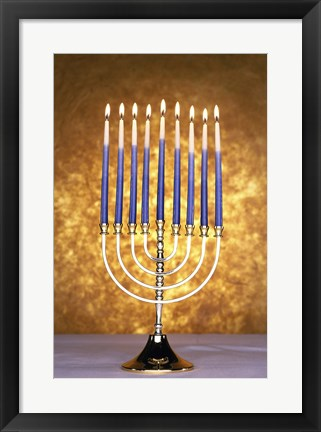 Framed Close-up of lit candles on a menorah Print