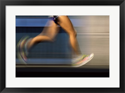 Framed Low section view of a person running on blue Print