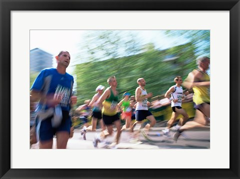 Framed Group of people running in a marathon, London, England Print