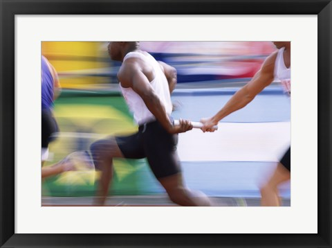 Framed Side profile of three men passing a relay baton Print