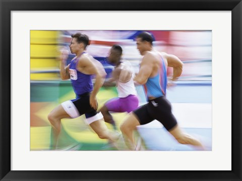 Framed Side profile of three men running on a track Print