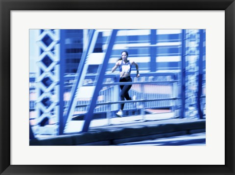 Framed Young woman running Print