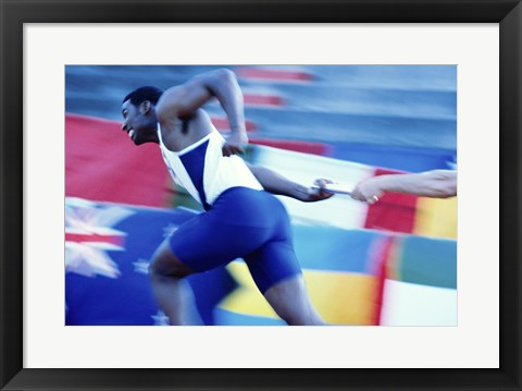Framed Side profile of runners passing a baton in a relay race Print