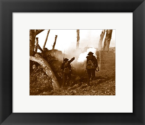 Framed Two American Soldiers Storming a Bunker Print