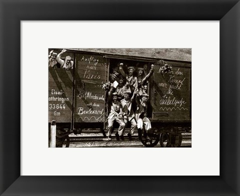 Framed German Soldiers in a Railroad Car on the Way to the Front Print