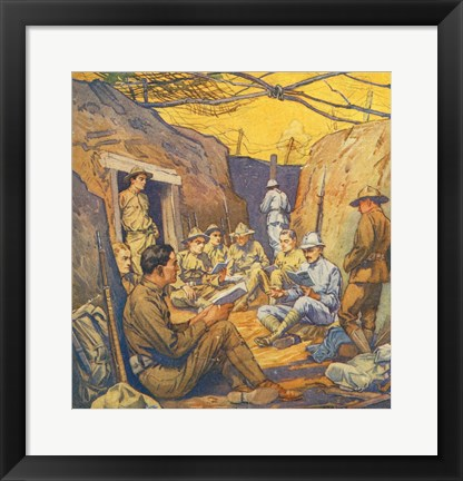 Framed Studying French in the Trenches Print