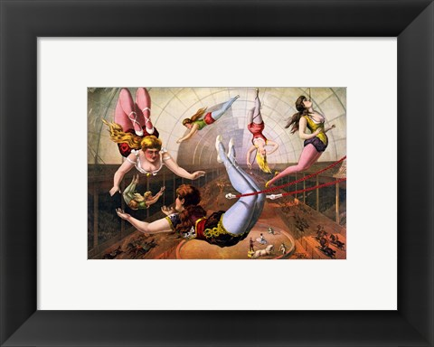 Framed Trapeze Artists in Circus Print