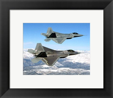 Framed Two F-22 Raptor in Flying Print