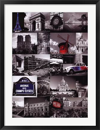 Framed Paris (Collage) Print
