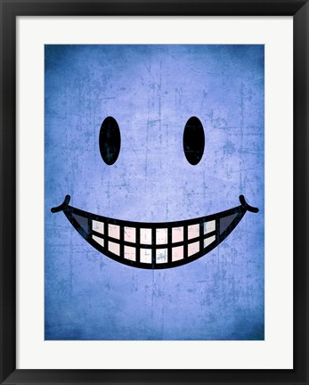 Framed Hang up a Smile (blue) Print