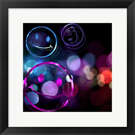 Framed Bounce Smiley Faces Print