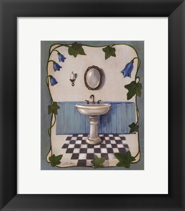 Framed Bell Flower Bath II on Ivory Print