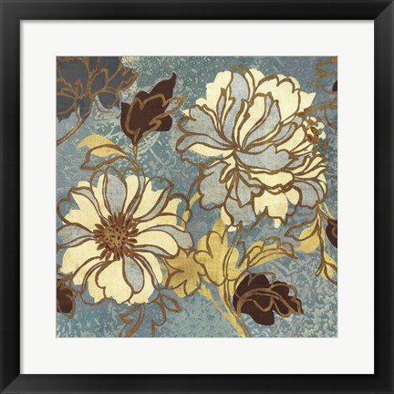 Framed Sophias Flowers I - Blue Print