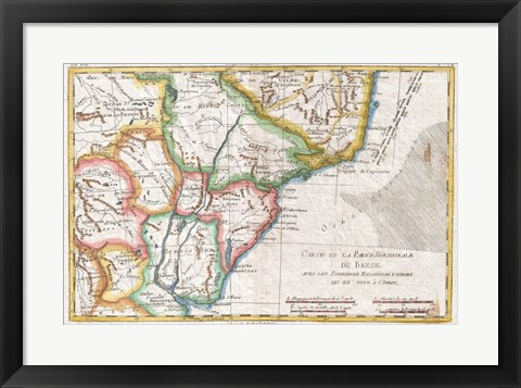 Framed 1780 Raynal and Bonne Map of Southern Brazil, Northern Argentina, Uruguay and Paraguay Print