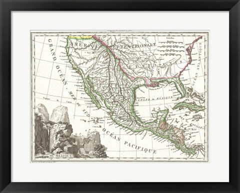 Framed 1810 Tardieu Map of Mexico, Texas and California Print