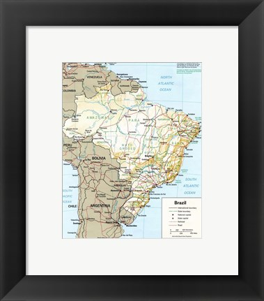 Framed Brazil Map Print