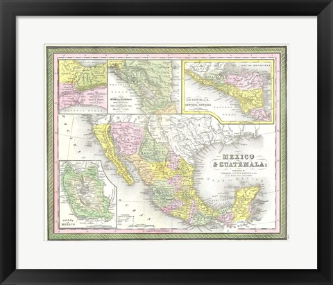 Framed 1850 Mitchell Map of Mexico Texas Print