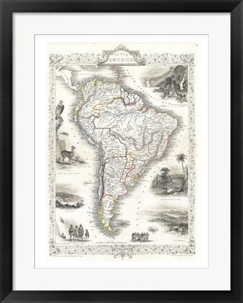 Framed 1850 Tallis Map of South America Print