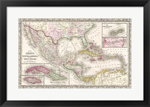 Framed 1866 Mitchell Map of Mexico and the West Indies Print