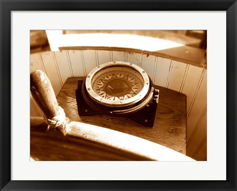Framed Classic Nautical Compass Print
