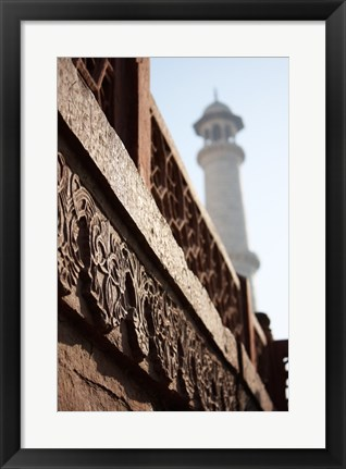 Framed Close up of Carving at the Taj Mahal, Agra, Uttar Pradesh, India Print