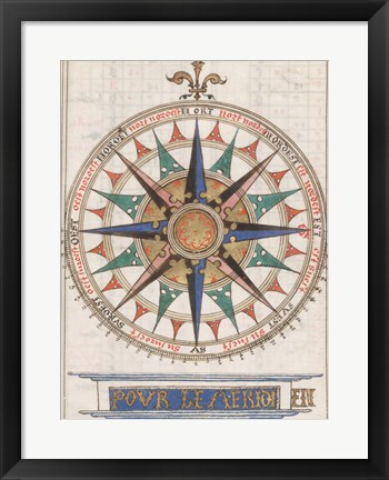 Framed Guillaume Brouscon Compass France, 1543 Print