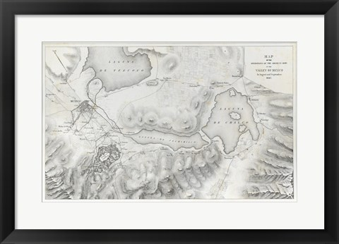 Framed Schieble Mexican War Map Print