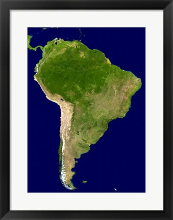 Framed South America - Blue Marble Orthographic Print