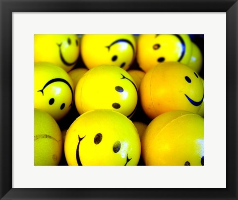 Framed Smiley Face Balls Print
