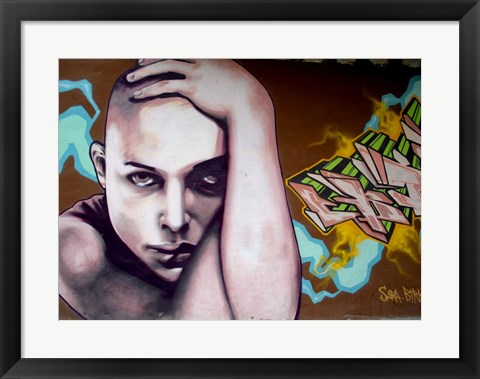 Framed Vitoria Graffiti - person Print