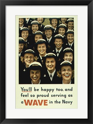 Framed Serving a Wave in the Navy Print