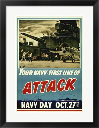 Framed Your Navy First Line of Attack Print