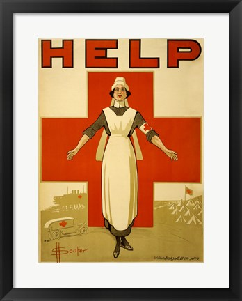 Framed Help, Red Cross Nurse Print