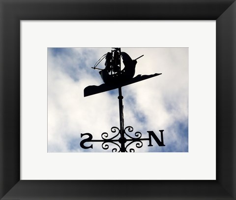 Framed Weathervane Iron Boat Print