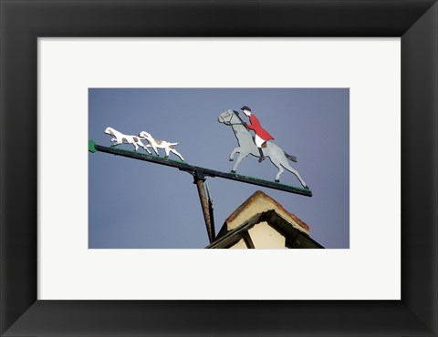 Framed Horse and Rider Weathervane Print
