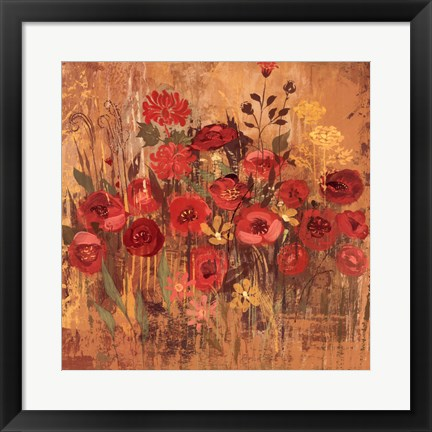 Framed Red Floral Frenzy II Print