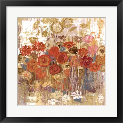 Framed Floral Frenzy I - orange Print