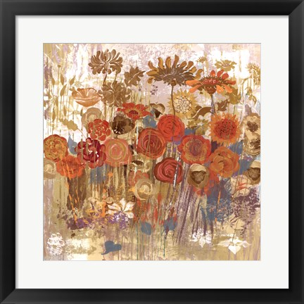 Framed Floral Frenzy II - orange Print