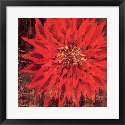Framed Floral Frenzy Red III - square Print