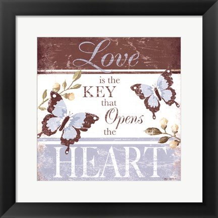 Framed Love Is The Key Print