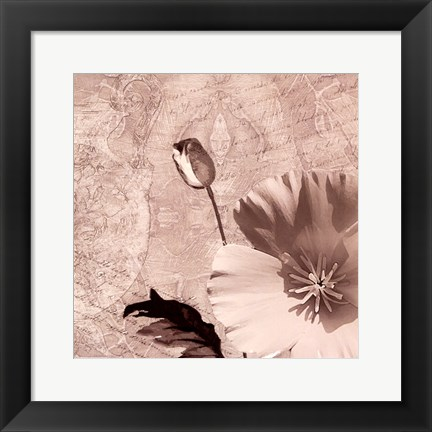 Framed Vintage Rose I Print
