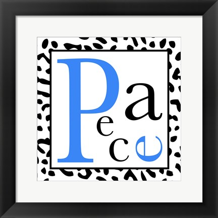 Framed Peace - Blue and Black Letters Print