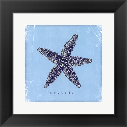 Framed Starfish - Blue Print