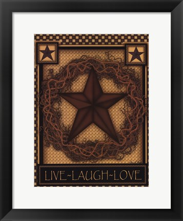 Framed Live, Laugh, Love Star Print