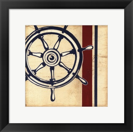 Framed Americana Captain's Wheel Print