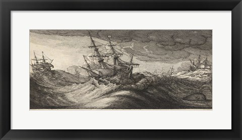 Framed Wenceslas Hollar - Warships and a Spouting Whale Print