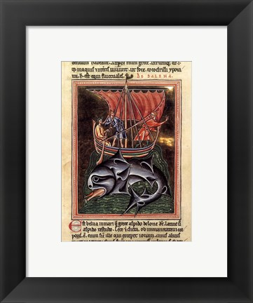 Framed 12th Century Painters - On Whales Folio from a Bestiary Print
