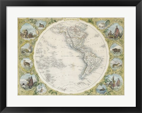 Framed 1850 Tallis Map of the Western Hemisphere Print