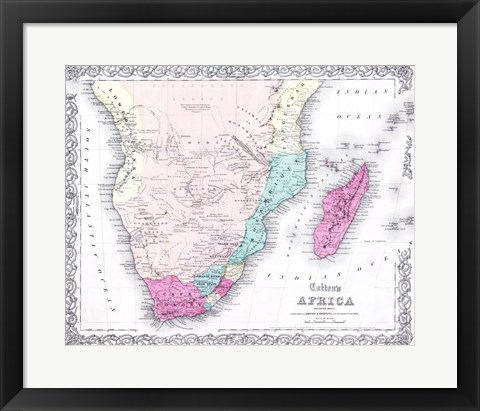 Framed 1855 Colton Map of Southern Africa Print